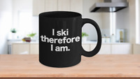 Ski Mug Black Coffee Cup Funny Gift for Downhill Water Cross Country Slopes Ski