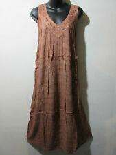 Dress Fits XL 1X 2X 3X Plus Sundress Brown Tie Dye A Shaped Soft Cotton NWT G325