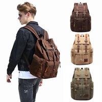 Women Men Canvas Satchel Shoulder Backpack School Rucksack Bags Travel Fashion