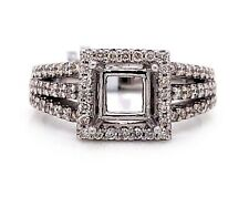 14K White Gold 0.52 TCW Diamond Semi Mount Engagement Ring Center 5.5 mm Square