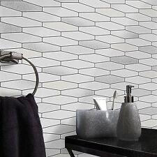 Holden Wallpaper - Apex White Tiles / Silver Glitter - Tiling On A Roll - 89270