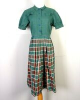 vtg 30s 40s rare Depression Era Pre WWII Gingham Plaid Frock Day Dress 38 bust