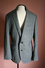 JCrew Ludlow Windowpane Plaid Double Vent in Wool Cotton 40R Warm Gray *Sample*