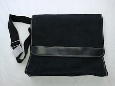 New Kenneth Cole Messenger Shoulder Bag Black Soft Suede Feel NWOT