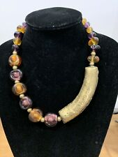 Gorgeous Tribal style necklace with Murano Glass beads