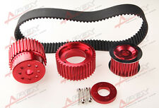 """12A 13B 20B 15mm RX7 FD FC RX3 Gilmer Drive Pulley Kit 1.5"""" Notch Belt Red"""