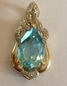 GORGEOUS BLUE TOPAZ & DIAMOND PENDANT IN SOLID 14K GOLD