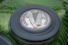 AU 1928 IRELAND FLORIN FLOIRON 2 SHILLINGS SILVER, RARE HARP DETAILS>