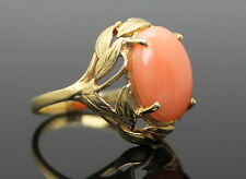 MAGNIFICENT VINTAGE GENUINE PINK CORAL LEAVES SOLID 14K YELLOW GOLD RING S 7.5