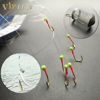 Lot 7 Fishing Hoks String Luminous Hook with Bait Cage Designed For Small Fish