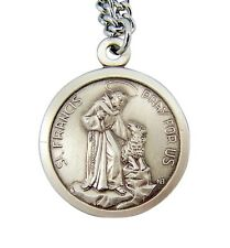 Sterling Silver Saint Francis with Dog Pray for Us Medal Pendant, 1 1/16 Inch