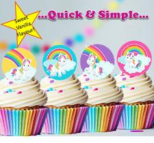 Rainbow & Unicorn Edible Wafer Cupcake Cake Toppers Decorations Birthday  #131