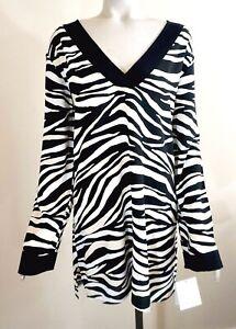 NWT $104 La Blanca Animal Zebra Print LS Swim Tunic Cover Up, Black & Cream