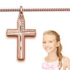 Kinder Kreuz Anhänger Zirkonia zur Kommunion mit Kette Echt Silber 925 Rosè Gold
