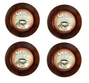 French Style Coffee Print Decorative Charger Plates - Set of 4 Free Shipping NEW