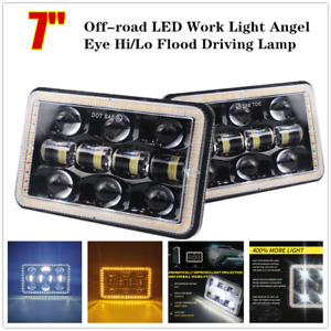 "7"" Pair 300W SUV Truck Off-road LED Work Light Angel Eye Hi/Lo Beam Driving Lamp"