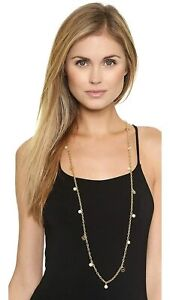 Tory Burch Women's Pearl Logo Charm Rosary 16K Gold Plated Necklace