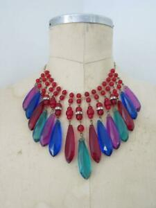 Vintage Miriam Haskell Glass Plastic Necklace Choker