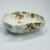"""Vintage Haviland Limoges Pink flower Porcelain Scalloped Veggie bowl 10"""" (SH)"""