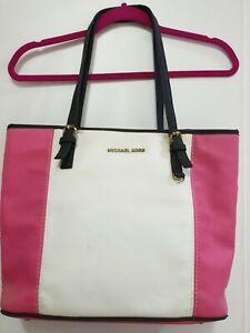 Hot Pink and White Michael Kors Tote Bag