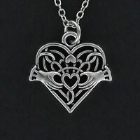 Celtic Heart Necklace - Pewter Charm on Cable Chain Filigree Claddagh Hands NEW