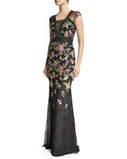 NWOT Badgley Mischka Black Cap-Sleeve Floral-Embroidered Gown 10 $1100