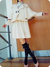 Woman Batwing Poncho Cape Kimono Cashmere Wool Coat Design WaistCrop Asymmetric