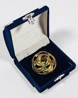 Vintage Brooch Gold Tone & Multi Coloured Semi Precious Stones Elegant Filigree