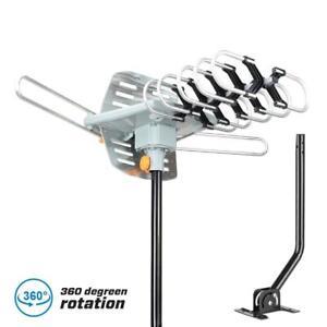 250miles TV Antenna Amplified Long Range Outdoor HD Digital 360° Rotating + Pole