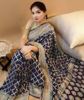 Indian Bollywood Saree Designer New Kanchipuram Silk Sari Ethnic Party Wear AC