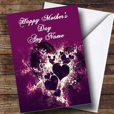 Corazones PÚRPURA y remolinos personalizado el día de madre tarjeta de saludos