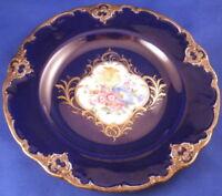 Antique 19thC Meissen Porcelain Floral Scene & Cobalt Plate Porzellan Teller