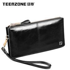 Men Soft Oil Wax Leather Business Clutch Bag Wrist Handbag Wild Branded Wallet