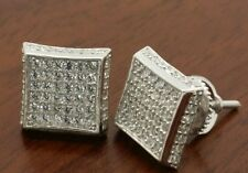 MENS  STERLING SILVER 8MM  SQUARE STUD EARRINGS PRONG SET
