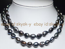 Natural 9-10mm Baroque Black Freshwater Pearl Necklaces Long 30 Inches