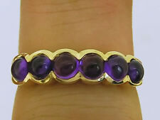 R075 Genuine 9K Gold NATURAL Amethyst Cabochon Eternity Ring 6-stone size N