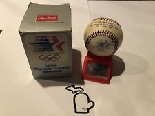 UNSIGNED 1984 Official Olympic HAITI Baseball w/ Stand & Box - McGwire & Larkin