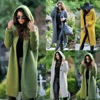 Women Hooded Knit Cardigan Sweater Outwear Long Coat Jacket Hoodie Trench Casual