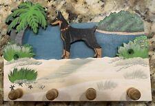 Doberman Pinscher Solid Wood Dog Sign With Key Holders - Handmade Vintage