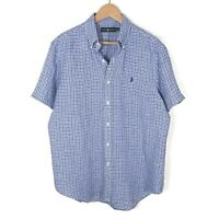 Polo Ralph Lauren Mens Linen Button-Down Shirt Blue White Plaid Size Large