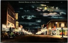 "Coeur d'Alene, Idaho Postcard ""Sherman Avenue at Night"" Downtown Linen 1940s"