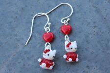 Kitty & Heart Earrings- adorable lampwork glass cats on sterling silver earwires