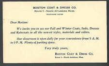 1950 PC BOSTON MA COAT & DRESS CO NEW LINES OF FALL & WINTER COATS SUITS ETC