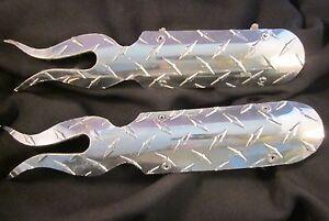 2 Diamond Plate ORIGINAL USA Custom Fab Flame Heat Shields for HD  Drag Pipes