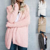 Hooded Cardigan Jacket Outerwear Tops Winter Warm Fluffy Coat Fashion Women FF