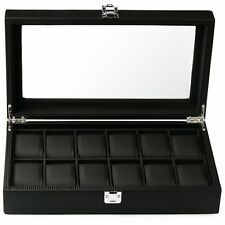 Mantello Black Carbon Fiber 12-Watch Box Showcase Jewelry Case Organizer