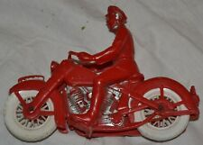 Vintage 50-60s Police Motorcycle Auburn - Plastic Toy Red White