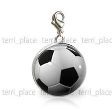 Soccer Ball Image 20mm Glass Clip On Charm Add on a bracelet or necklace