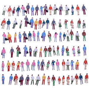 100pcs Model Trains 1:87 Painted Figures HO TT Scale People P100