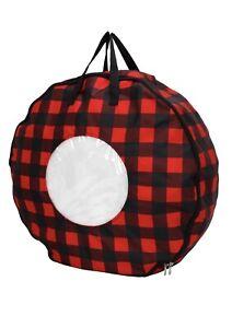Mainstays 24 inch Wreath Storage Bag 2 Pack Red/Black Buffalo check w/ RichBlack